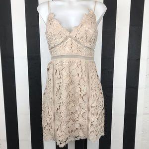 Bardot Botanica Tan Lace Mini Dress